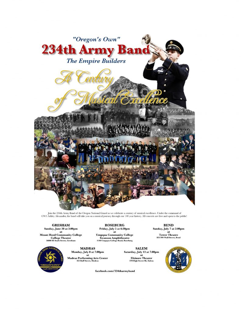 "Oregon's Own 234th Army Band will perform at the PAC on Monday, July 8 at 7pm.  This concert is free and open to the public.  Please come and enjoy their amazing music as they celebrate ""A Century of Musical Excellence."""